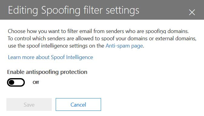 Editing spoofing filter settings